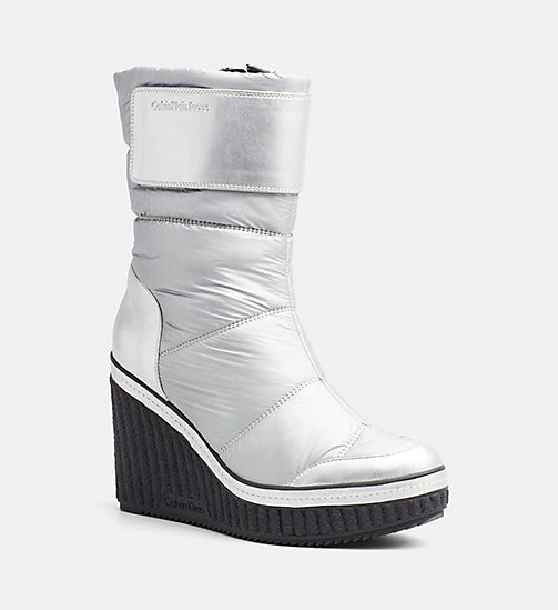 CALVIN KLEIN JEANS Quilted Zip Ankle Boots - SILVER - CALVIN KLEIN JEANS BOOTS - main image