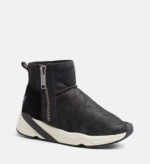 CALVIN KLEIN JEANS Suede Zip Ankle Boots - ANTHRACITE - CALVIN KLEIN JEANS BOOTS - main image