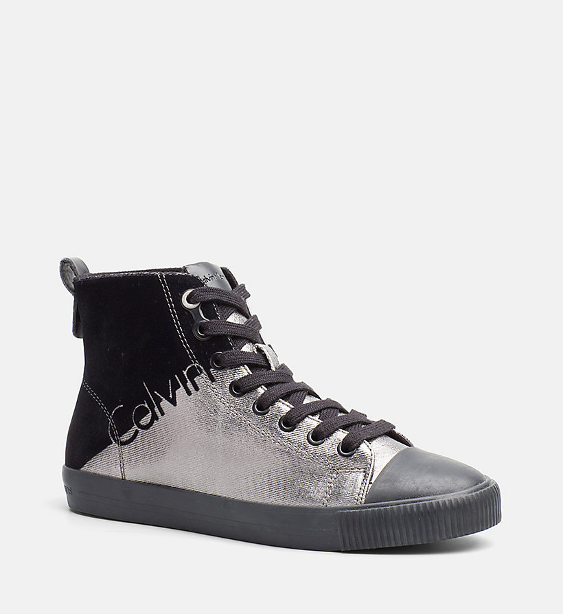metallic canvas high top sneakers calvin klein 00000r0640pwb. Black Bedroom Furniture Sets. Home Design Ideas