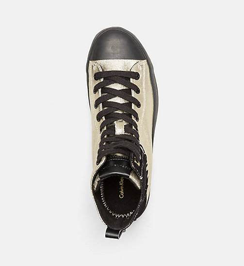 CALVIN KLEIN JEANS Metallic Canvas High-Top Sneakers - GOLD/BLACK - CALVIN KLEIN JEANS TRAINERS - detail image 1