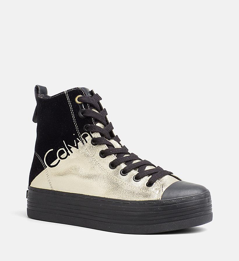 metallic canvas high top sneakers calvin klein