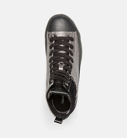 CALVIN KLEIN JEANS Metallic Canvas High-Top Sneakers - PEWTER/BLACK - CALVIN KLEIN JEANS TRAINERS - detail image 1
