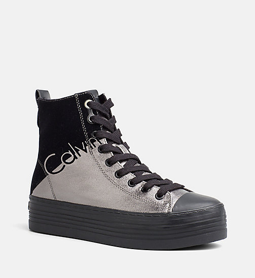 CALVIN KLEIN JEANS Metallic canvas high-top sneakers - PEWTER/BLACK - CALVIN KLEIN JEANS SNEAKERS - main image