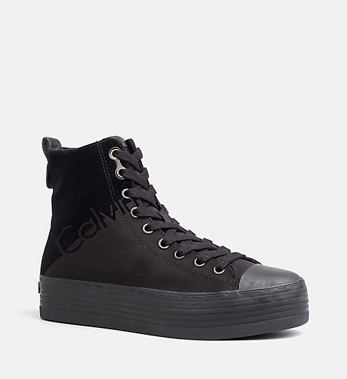 CALVIN KLEIN JEANS Nylon Twill High-Top Sneakers - BLACK/BLACK - CALVIN KLEIN JEANS TRAINERS - main image