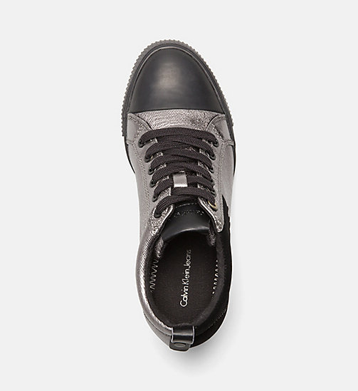 CALVIN KLEIN JEANS Metallic canvas sneakers - PEWTER/ BLACK - CALVIN KLEIN JEANS SNEAKERS - detail image 1