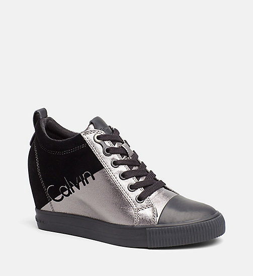 CALVIN KLEIN JEANS Metallic canvas sneakers - PEWTER/ BLACK - CALVIN KLEIN JEANS SNEAKERS - main image
