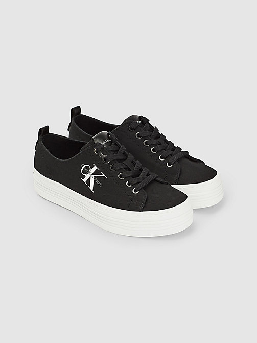 CALVIN KLEIN JEANS Canvas Sneakers - BLACK - CALVIN KLEIN JEANS TRAINERS - detail image 1