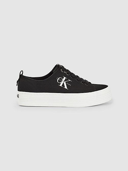 CALVIN KLEIN JEANS Canvas Sneakers - BLACK - CALVIN KLEIN JEANS TRAINERS - main image