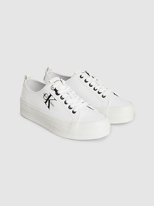 CALVIN KLEIN JEANS Canvas Sneakers - WHITE - CALVIN KLEIN JEANS TRAINERS - detail image 1