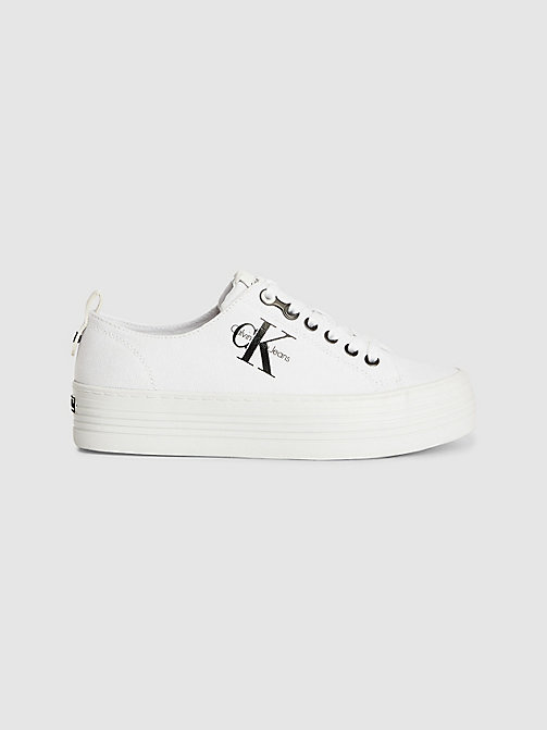 CALVIN KLEIN JEANS Canvas Sneakers - WHITE - CALVIN KLEIN JEANS TRAINERS - main image