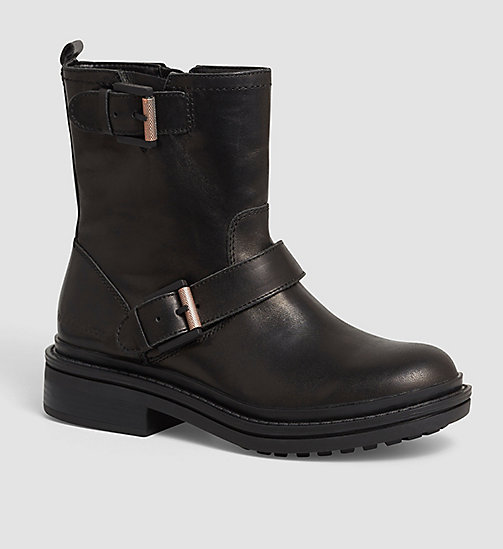 CALVIN KLEIN JEANS Leather Zip Ankle Boots - BLACK - CALVIN KLEIN JEANS ANKLE BOOTS - main image