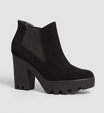 CALVIN KLEIN JEANS Suede Ankle Boots - Sandy 00000R3493BLK
