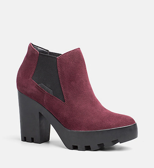 CALVIN KLEIN JEANS Suede Ankle Boots - WINE - CALVIN KLEIN JEANS ANKLE BOOTS - main image