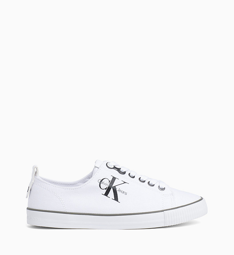 CALVIN KLEIN JEANS Canvas Sneakers - BLACK/WHITE - CALVIN KLEIN JEANS SHOES & ACCESSORIES - main image