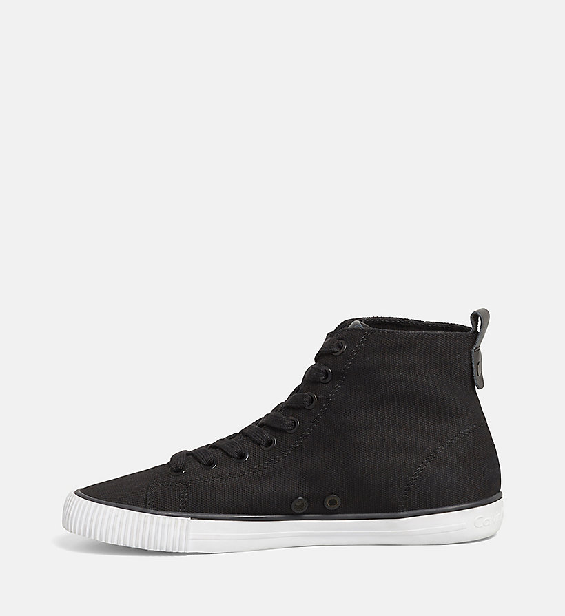 CKJEANS High-Top Canvas Sneakers - BLACK /  BLACK - CK JEANS SHOES & ACCESSORIES - detail image 2