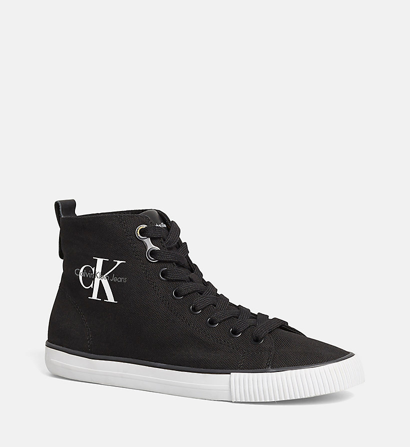 CKJEANS High-Top Canvas Sneakers - BLACK/BLACK - CK JEANS SHOES & ACCESSORIES - main image