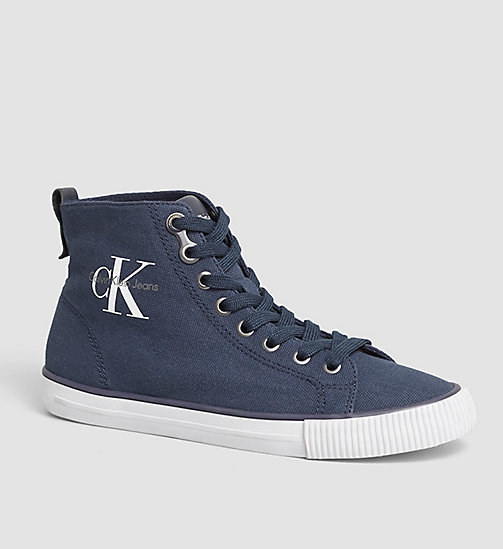 Sneaker a collo alto in canvas - BLACK/NAVY - CK JEANS SCARPE & ACCESSORI - immagine principale