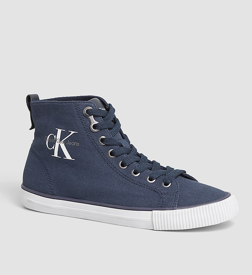 CKJEANS High-Top Canvas Sneakers - BLACK/NAVY - CK JEANS SHOES & ACCESSORIES - main image
