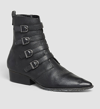 CALVIN KLEIN JEANS Leather Ankle Boots - Kitty 00000R3627BLK