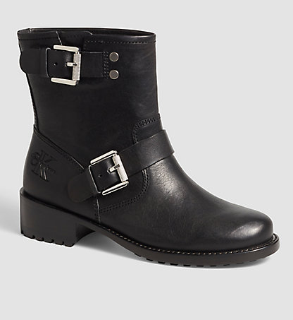 CALVIN KLEIN JEANS Leather Ankle Boots - Licia 00000R3645BLK