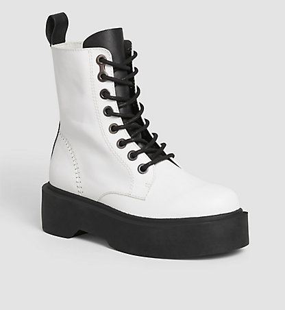 CALVIN KLEIN Leather Ankle Boots 00000R3978WHT