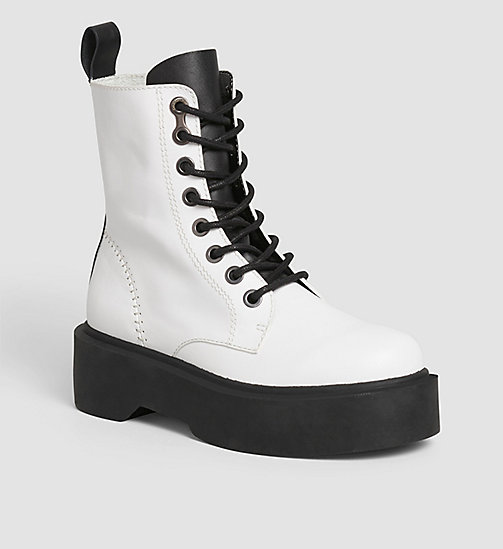 CKJEANS Leather Ankle Boots - WHITE/WHITE - CK JEANS  - main image