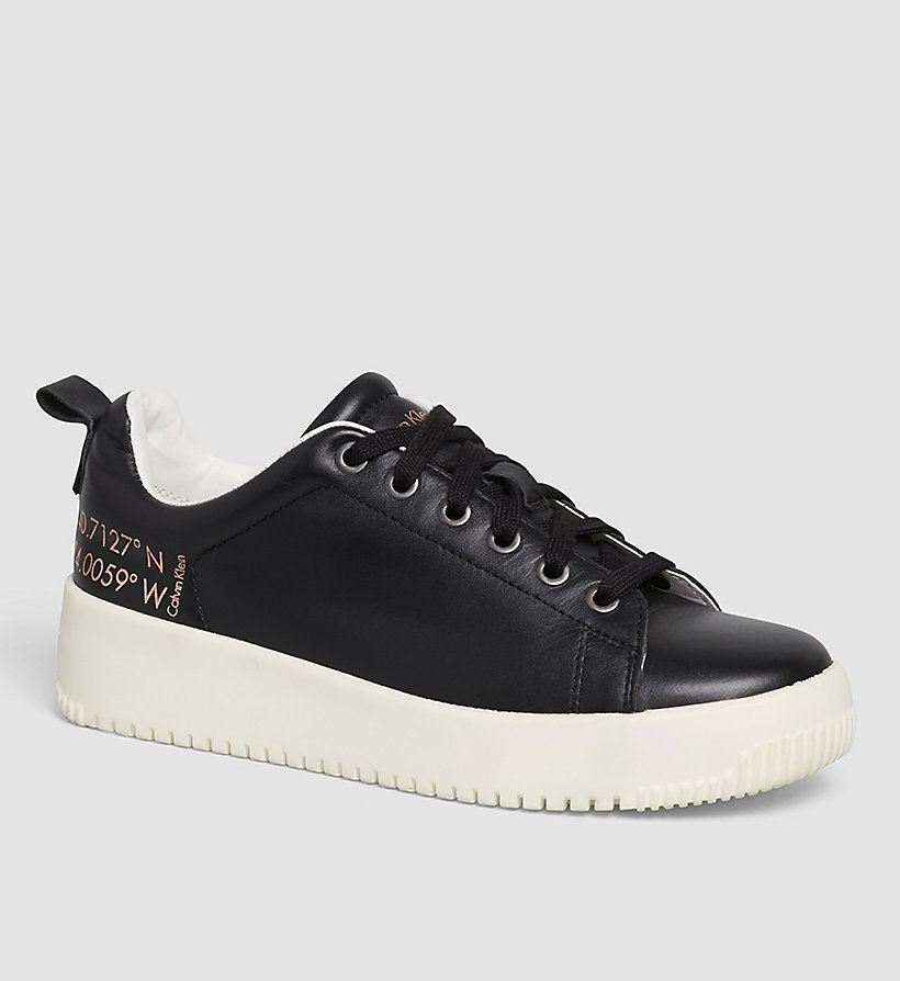 CKJEANS Leather Sneakers - BLACK/BLACK - CK JEANS SHOES & ACCESSORIES - main image