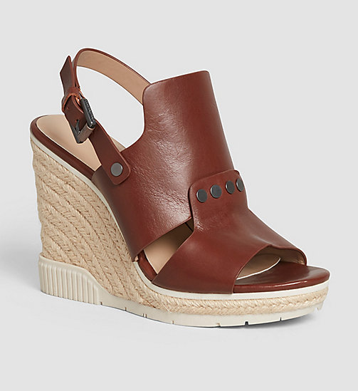 CKJEANS Leather Sandals - BLACK/COGNAC - CK JEANS SANDALS - main image