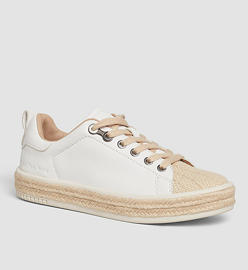 CALVINKLEIN Leather Sneakers - WHITE/WHITE - CK JEANS SHOES & ACCESSORIES - main image