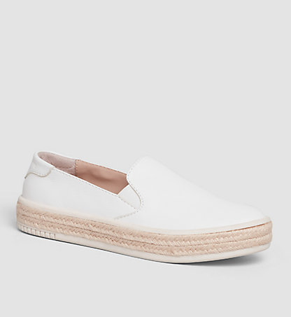 CALVIN KLEIN Leather Slip-On Shoes 00000R4068WHT