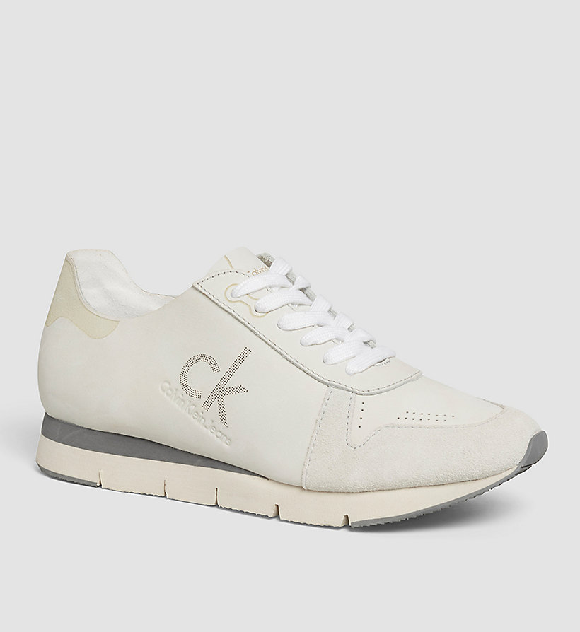 CKJEANS Leather Sneakers - WHITE/WHITE - CK JEANS SHOES & ACCESSORIES - main image