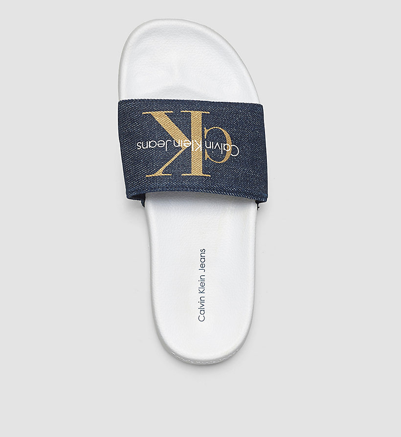 CKJEANS Denim Logo Slippers - BLUE/MIDNIGHT/GOLD - CK JEANS SHOES & ACCESSORIES - detail image 1