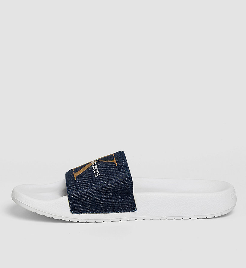 CKJEANS Denim Logo Slippers - BLUE/MIDNIGHT/GOLD - CK JEANS SHOES & ACCESSORIES - detail image 2