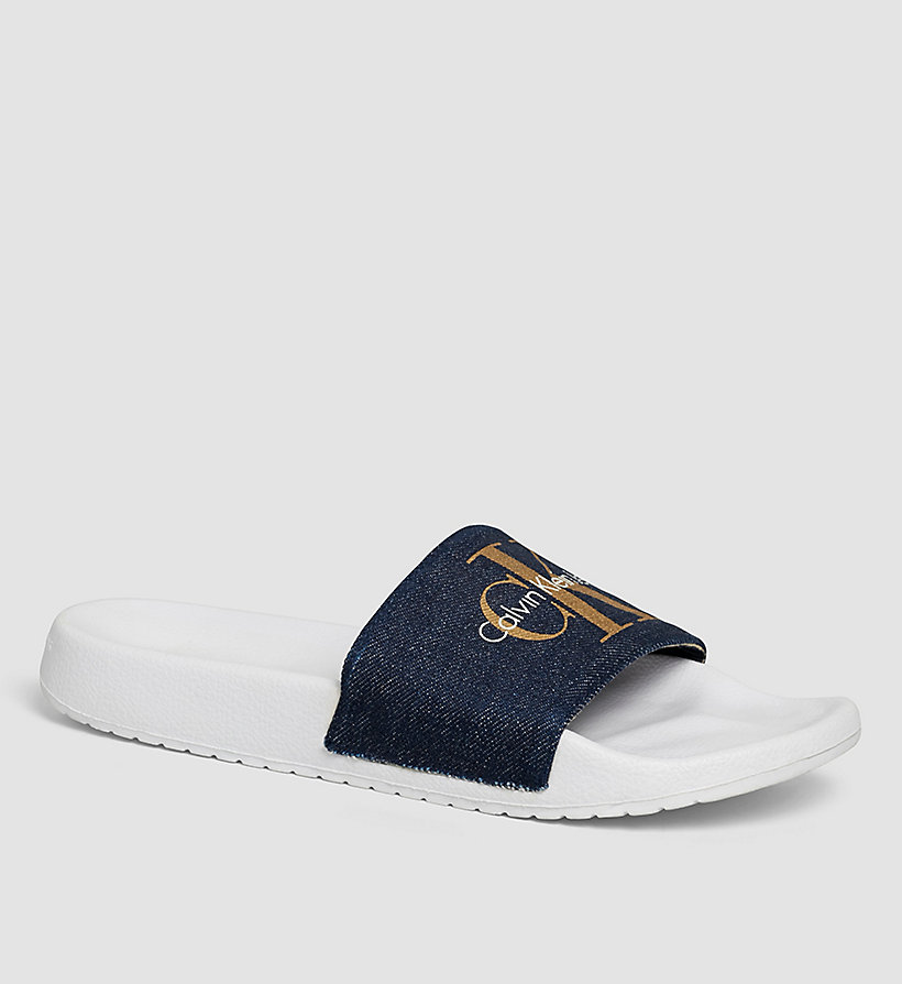 CKJEANS Denim Logo Slippers - BLUE/MIDNIGHT/GOLD - CK JEANS SHOES & ACCESSORIES - main image