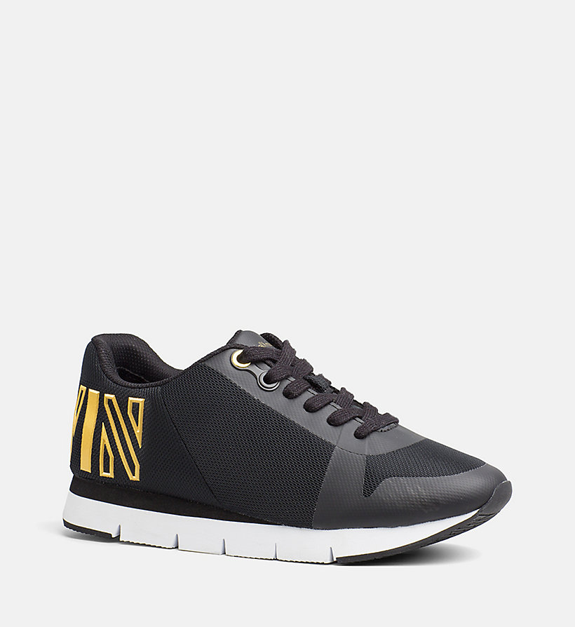 CALVIN KLEIN JEANS Mesh Sneakers - BLACK/GOLD - CALVIN KLEIN JEANS SHOES & ACCESSORIES - main image
