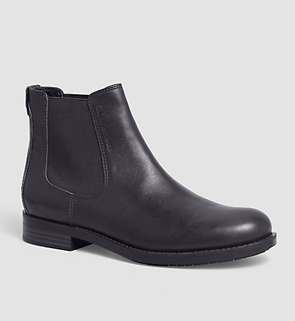 CALVIN KLEIN JEANS Leather Ankle Boots - Yosef 00000S0342BLK