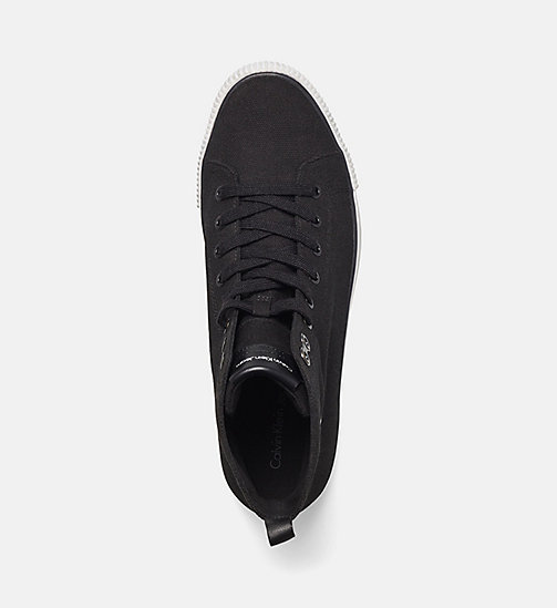 CALVIN KLEIN JEANS High-Top Canvas Sneakers - BLACK/BLACK - CALVIN KLEIN JEANS TRAINERS - detail image 1