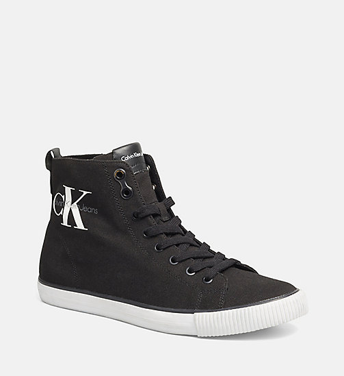 CALVIN KLEIN JEANS High-Top Canvas Sneakers - BLACK/BLACK - CALVIN KLEIN JEANS TRAINERS - main image
