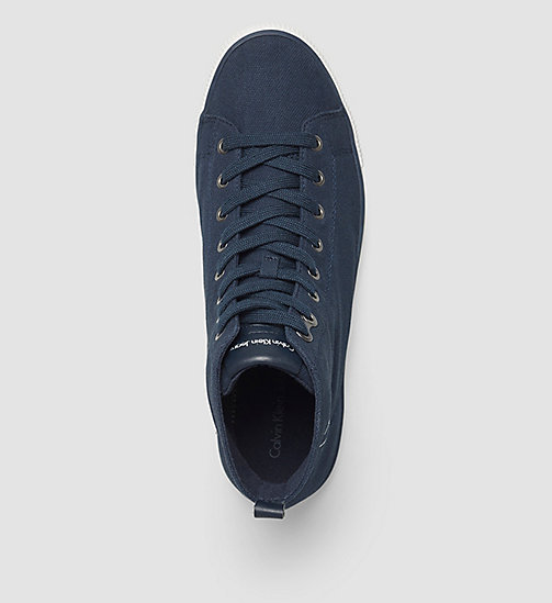 CALVIN KLEIN JEANS High-Top Canvas Sneakers - BLACK/NAVY - CALVIN KLEIN JEANS TRAINERS - detail image 1