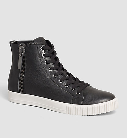 CALVIN KLEIN JEANS Leather High-Top Sneakers - City 00000S0399BLK