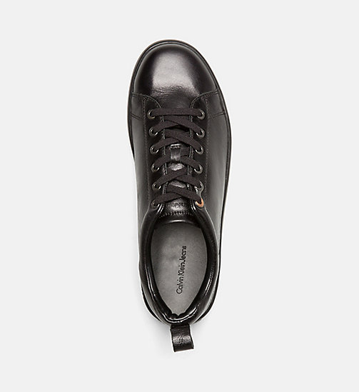 CALVIN KLEIN JEANS Leather Sneakers - BLACK - CALVIN KLEIN JEANS SHOES - detail image 1