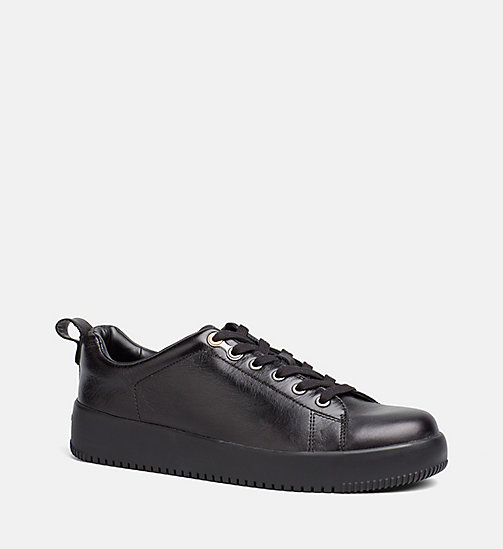 CALVIN KLEIN JEANS Leather Sneakers - BLACK - CALVIN KLEIN JEANS SHOES - main image