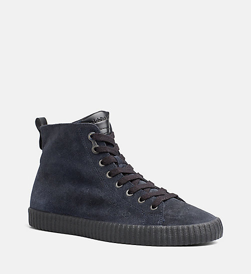 CALVIN KLEIN JEANS Suede High-Top Sneakers - INDIGO - CALVIN KLEIN JEANS TRAINERS - main image