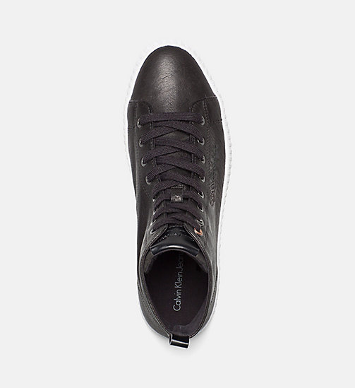 CALVIN KLEIN JEANS Leather High-Top Sneakers - BLACK - CALVIN KLEIN JEANS TRAINERS - detail image 1