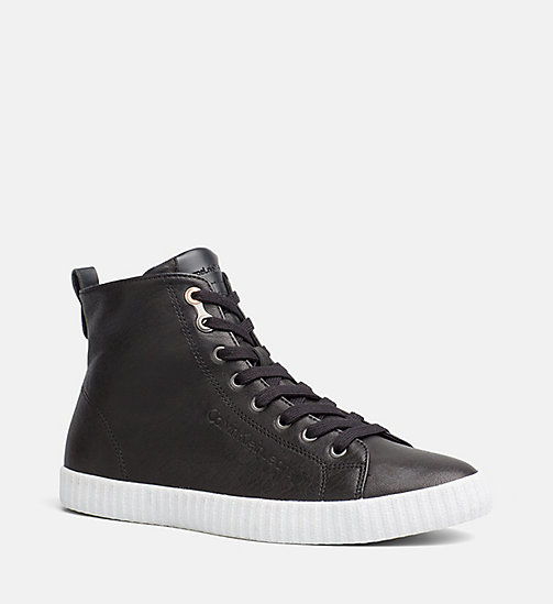 CALVIN KLEIN JEANS Leather High-Top Sneakers - BLACK - CALVIN KLEIN JEANS TRAINERS - main image