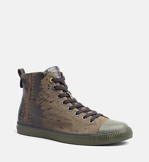 CALVIN KLEIN JEANS Canvas High-Top Sneakers - CARGO - CALVIN KLEIN JEANS TRAINERS - main image