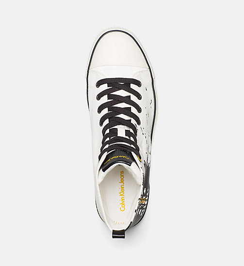 CALVIN KLEIN JEANS Canvas High-Top Sneakers - OFF WHITE - CALVIN KLEIN JEANS TRAINERS - detail image 1