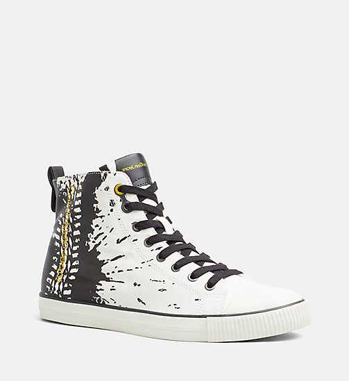 CALVIN KLEIN JEANS Canvas High-Top Sneakers - OFF WHITE - CALVIN KLEIN JEANS TRAINERS - main image