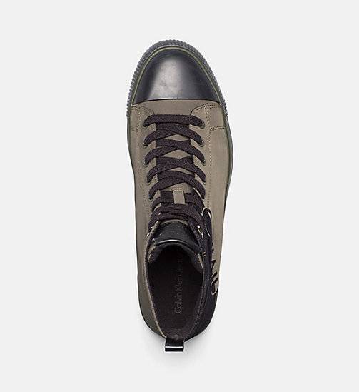 CALVIN KLEIN JEANS Nylon Twill High-Top Sneakers - CARGO/BLACK - CALVIN KLEIN JEANS TRAINERS - detail image 1