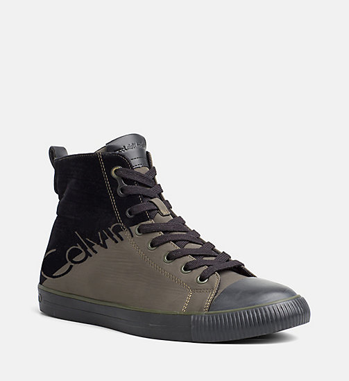 CALVIN KLEIN JEANS Nylon Twill High-Top Sneakers - CARGO/BLACK - CALVIN KLEIN JEANS TRAINERS - main image